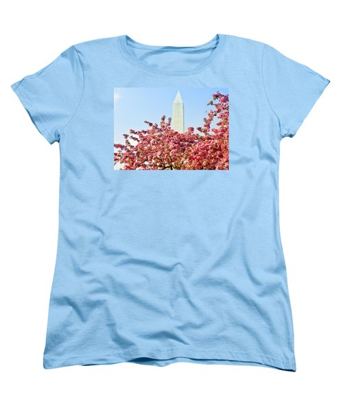 Cherry Trees And Washington Monument Two Women's T-Shirt (Standard Cut) by Mitchell R Grosky