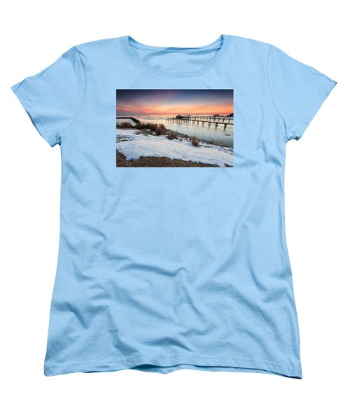 Women's T-Shirt (Standard Cut) featuring the photograph Chesapeake Bay Freeze by Jennifer Casey