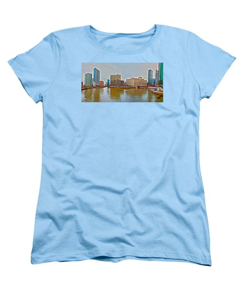 Women's T-Shirt (Standard Cut) featuring the photograph Chicago Skyline And Streets by Alex Grichenko