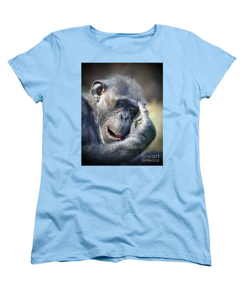 Women's T-Shirt (Standard Cut) featuring the photograph Chimpanzee Thinking by Savannah Gibbs