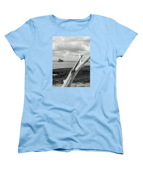 Chincoteague Oystershack Bw Vertical Women's T-Shirt (Standard Cut) by Photographic Arts And Design Studio
