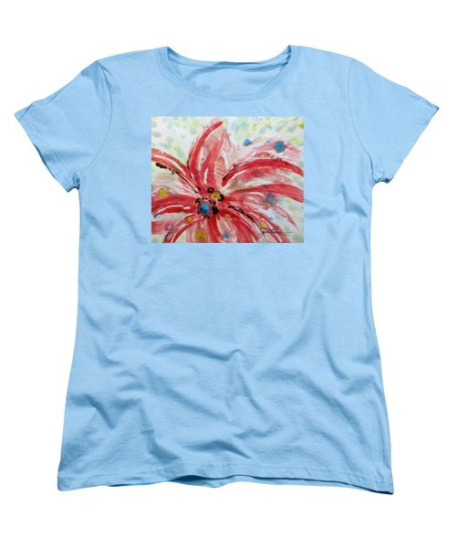 Women's T-Shirt (Standard Cut) featuring the painting Chinese Red Flower by Joan Reese