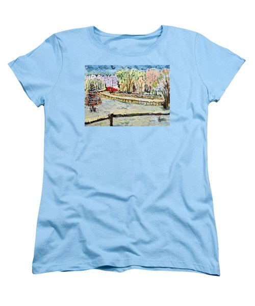 Women's T-Shirt (Standard Cut) featuring the painting Christmas At Cissy's Farm by Michael Daniels