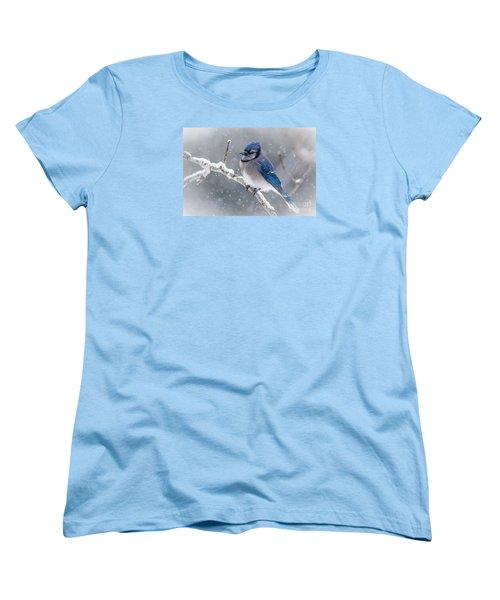 Christmas Card Bluejay Women's T-Shirt (Standard Cut) by Cheryl Baxter