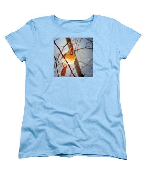 Northern Cardinal Snow Scene Women's T-Shirt (Standard Cut) by Nava Thompson
