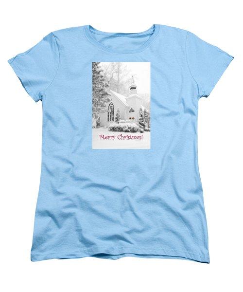 Historic Church Oella Maryland - Christmas Card Women's T-Shirt (Standard Cut) by Vizual Studio
