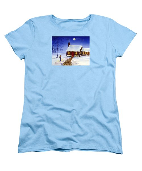 Women's T-Shirt (Standard Cut) featuring the painting Christmas Eve by Lee Piper