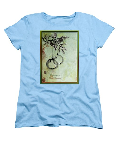 Women's T-Shirt (Standard Cut) featuring the painting Christmas Greeting Card With Ink Brush Drawing by Peter v Quenter