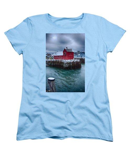Christmas In Rockport Massachusetts Women's T-Shirt (Standard Cut) by Jeff Folger