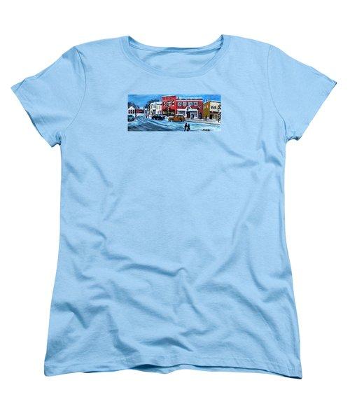 Christmas Shopping In Concord Center Women's T-Shirt (Standard Cut) by Rita Brown