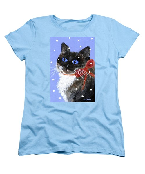 Christmas Siamese Women's T-Shirt (Standard Cut) by Jamie Frier