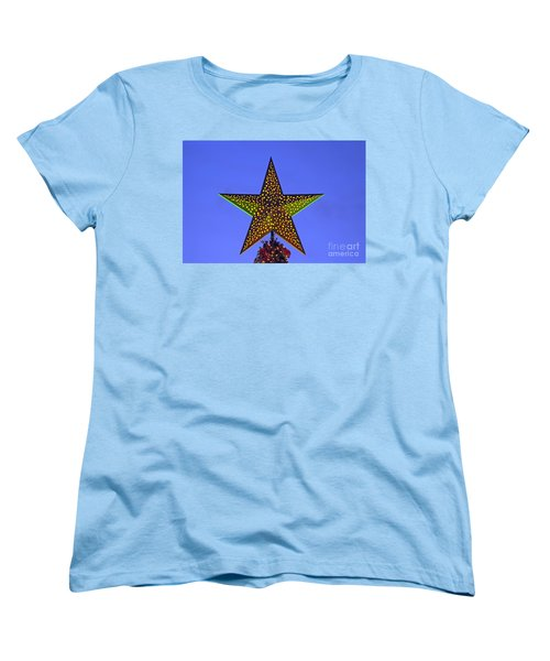 Women's T-Shirt (Standard Cut) featuring the photograph Christmas Star During Dusk Time by George Atsametakis