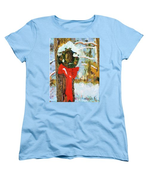 Women's T-Shirt (Standard Cut) featuring the painting Christmas Wreath by Michael Daniels