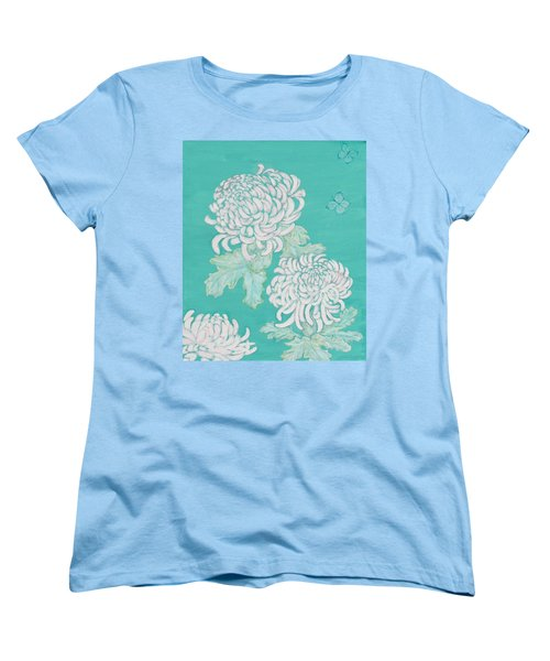 Women's T-Shirt (Standard Cut) featuring the painting Chrysanthemums And Butterflies by Stephanie Grant
