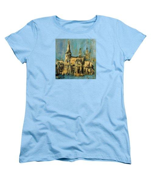 Women's T-Shirt (Standard Cut) featuring the painting Church by Arturas Slapsys