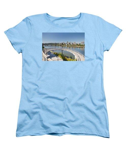 Women's T-Shirt (Standard Cut) featuring the photograph Circular Walkway On Portland Eastbank Esplanade by JPLDesigns
