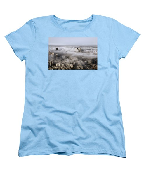 Women's T-Shirt (Standard Cut) featuring the photograph City Skyscrapers Above The Clouds by Ron Shoshani