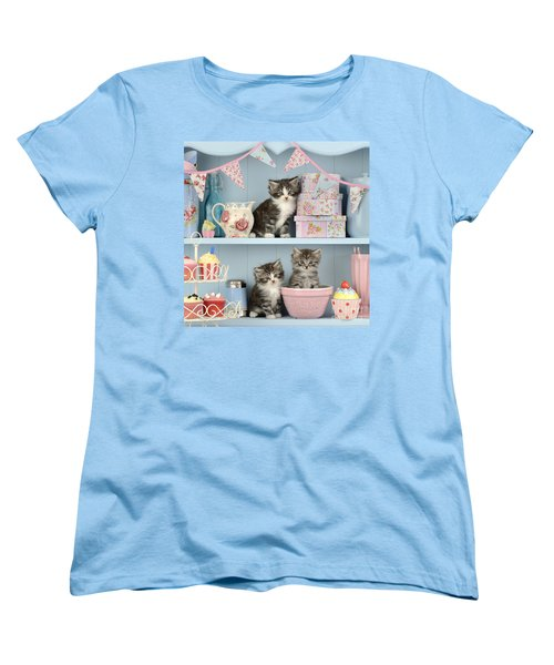 Baking Shelf Kittens Women's T-Shirt (Standard Cut) by Greg Cuddiford