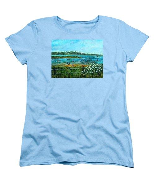 Clam Diggers At Menauhant Beach Women's T-Shirt (Standard Cut) by Rita Brown
