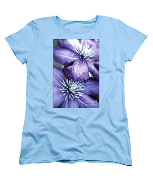 Clematis Women's T-Shirt (Standard Cut) by Linda Bianic