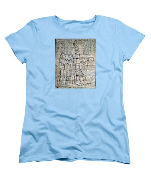 Women's T-Shirt (Standard Cut) featuring the painting Cleopatra And Caesarion by Leena Pekkalainen