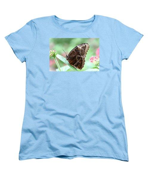 Closed Blue Morpho Women's T-Shirt (Standard Cut) by Denyse Duhaime