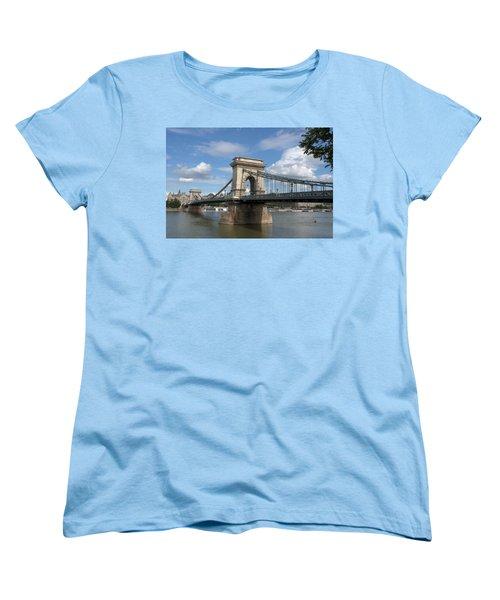Clouds Sky Water And Bridge Women's T-Shirt (Standard Cut) by Caroline Stella