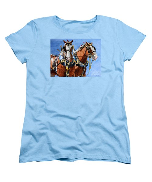 Women's T-Shirt (Standard Cut) featuring the painting Clydesdale Duo by Debbie Hart