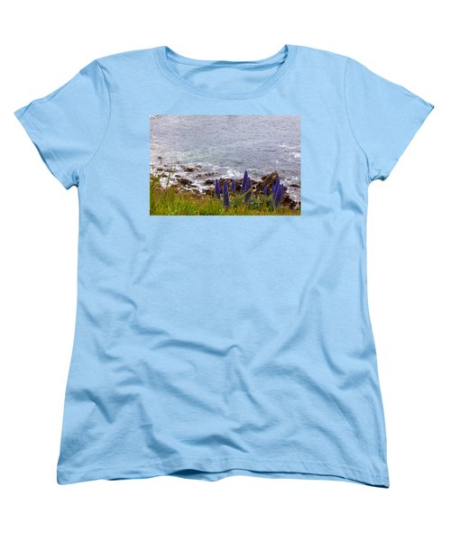 Coastal Cliff Flowers Women's T-Shirt (Standard Cut) by Melinda Ledsome