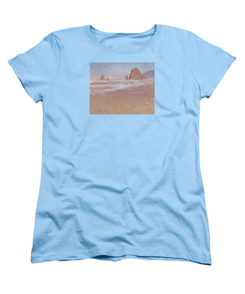 Coastal Escape  Cannon Beach Oregon And Haystack Rock  Women's T-Shirt (Standard Cut) by Karen Whitworth