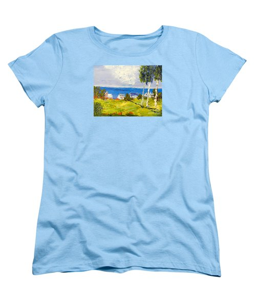 Women's T-Shirt (Standard Cut) featuring the painting Coastal Fishing Village by Pamela  Meredith