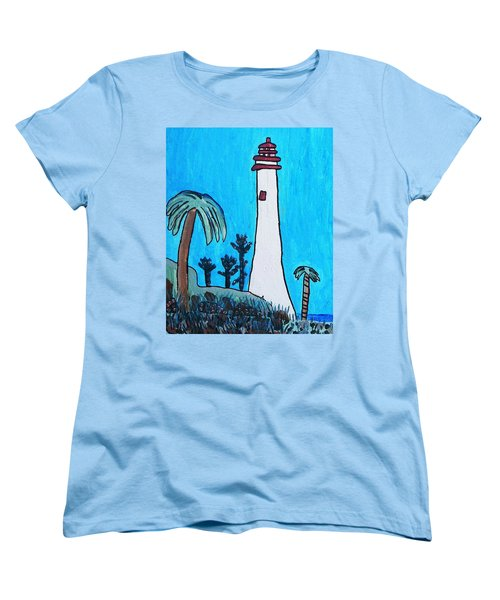 Women's T-Shirt (Standard Cut) featuring the painting Coastal Lighthouse by Artists With Autism Inc