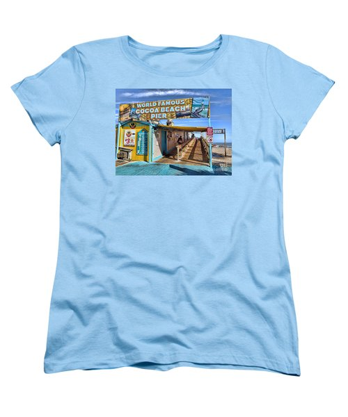 Cocoa Beach Pier In Florida Women's T-Shirt (Standard Cut) by David Smith