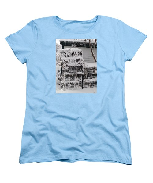 Women's T-Shirt (Standard Cut) featuring the photograph Cold Lobster Trap by Robert Nickologianis