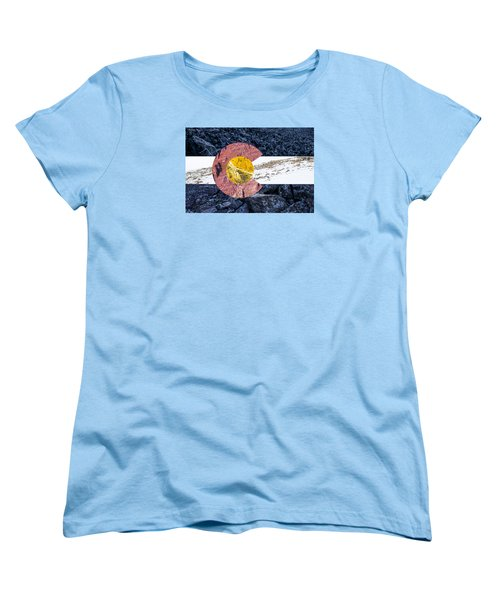 Women's T-Shirt (Standard Cut) featuring the photograph Colorado State Flag With Mountain Textures by Aaron Spong