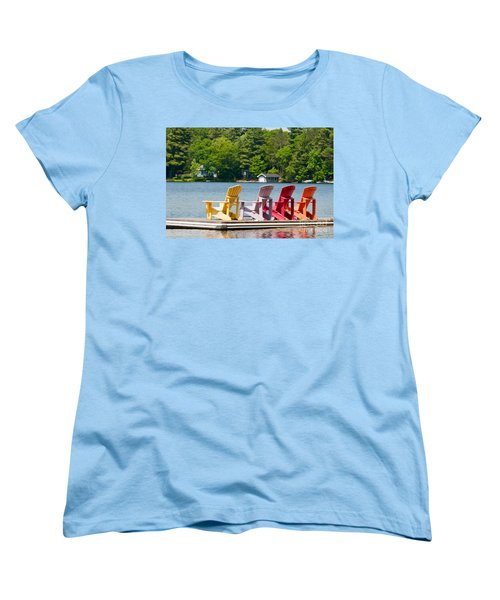 Women's T-Shirt (Standard Cut) featuring the photograph Colorful Chairs by Les Palenik