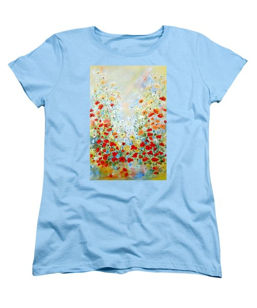 Women's T-Shirt (Standard Cut) featuring the painting Colorful Field Of Poppies by Dorothy Maier