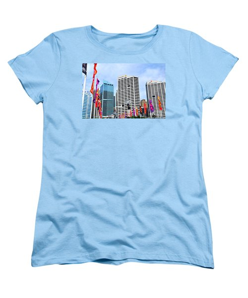 Colorful Flags Lead To City By Kaye Menner Women's T-Shirt (Standard Cut) by Kaye Menner