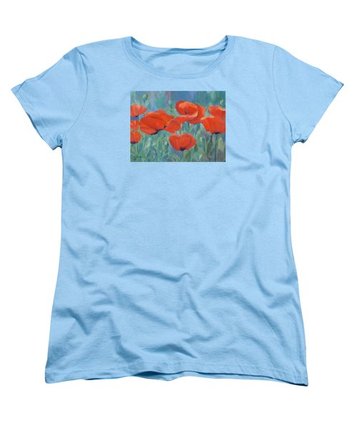 Colorful Flowers Red Poppies Beautiful Floral Art Women's T-Shirt (Standard Cut) by Elizabeth Sawyer