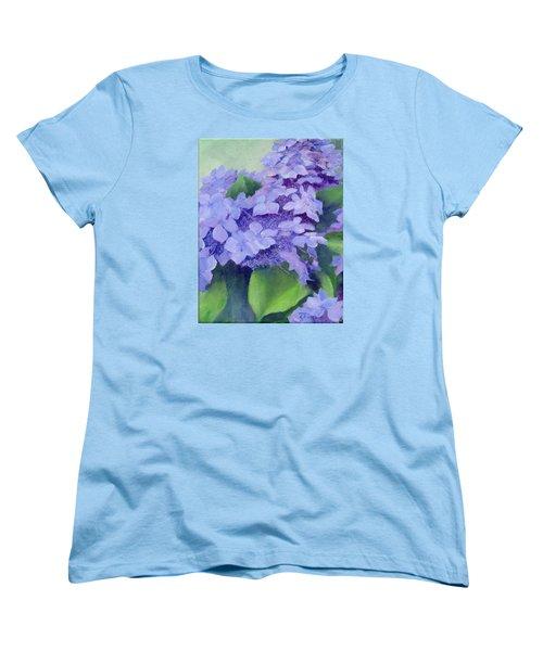 Colorful Hydrangeas Original Purple Floral Art Painting Garden Flower Floral Artist K. Joann Russell Women's T-Shirt (Standard Cut) by Elizabeth Sawyer