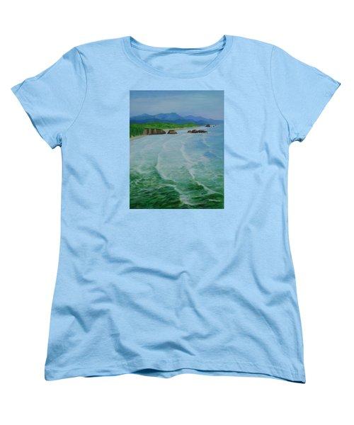 Colorful Seascape Oregon Cannon Beach Ecola Landscape Art Painting Women's T-Shirt (Standard Cut) by Elizabeth Sawyer