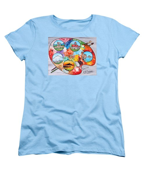 Women's T-Shirt (Standard Cut) featuring the painting Colori Di Sicilia by Loredana Messina