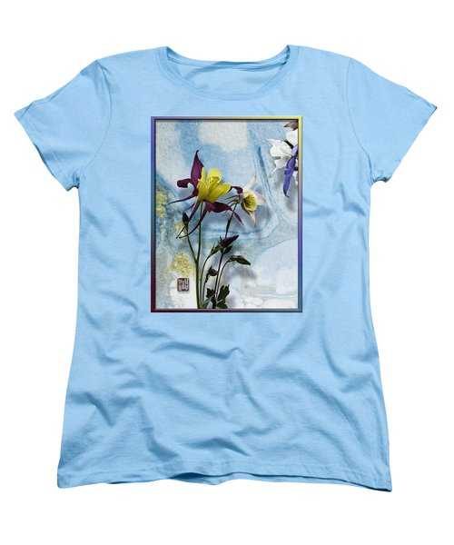 Columbine Blossom With Suminagashi Ink Women's T-Shirt (Standard Cut) by Peter v Quenter