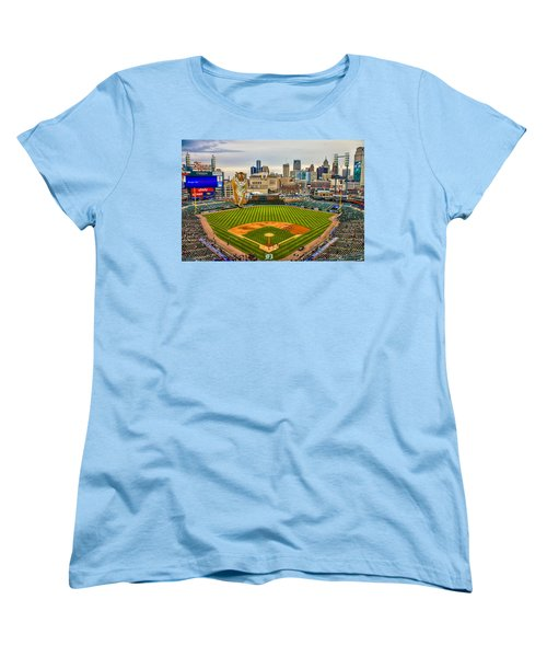 Women's T-Shirt (Standard Cut) featuring the photograph Comerica Park Detroit Mi With The Tigers by Nicholas  Grunas