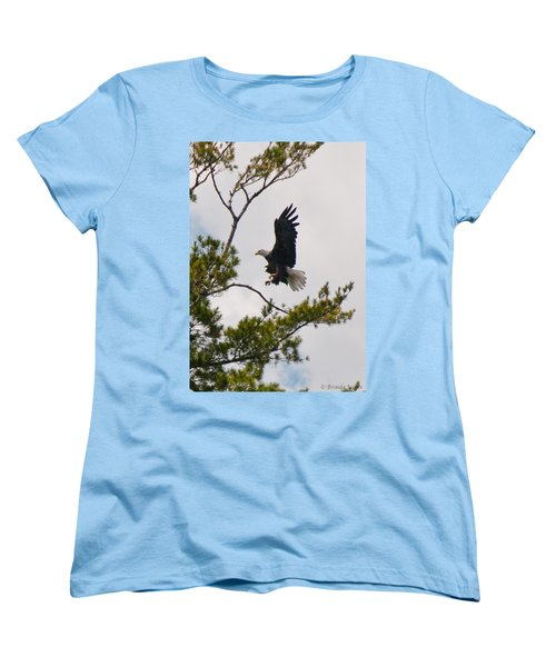 Women's T-Shirt (Standard Cut) featuring the photograph Coming In For A Landing by Brenda Jacobs