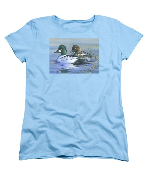 Women's T-Shirt (Standard Cut) featuring the painting Common Goldeneye by Mike Brown