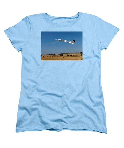 Women's T-Shirt (Standard Cut) featuring the digital art Concorde At Harvest Time by Paul Gulliver