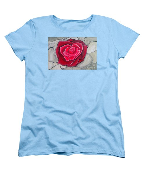 Women's T-Shirt (Standard Cut) featuring the painting Concrete Rose by Marisela Mungia