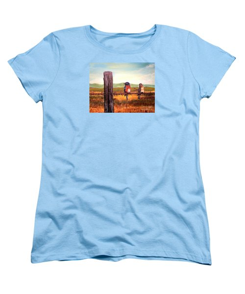 Conversation With A Fencepost Women's T-Shirt (Standard Cut) by Kimberlee Baxter