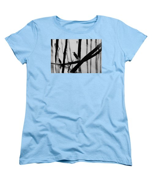 Cormorant And The Heron  Bw Women's T-Shirt (Standard Cut) by Roger Becker